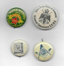 4 EARLY 1900s MASONIC PINBACK LAPEL PINS, BUTTONS - SPRS, 1937 DETROIT SHRINERS