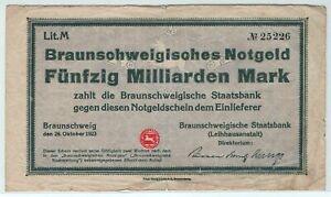 Braunschweig - Staatsbank - Inflation 1923 - 50 Milliarden Mark
