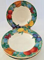 "FOUR Victoria & Beale Forbidden Fruit Rimmed Soup Salad Bowls 8 3/4"""