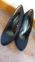 Graceland Womens Black Heels Round Front lepod print Every day wear size 36
