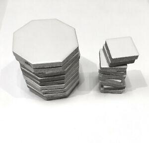 2 White Matte Retro Octagon Porcelain Tile Repair Kit Arts Crafts 5 Pieces