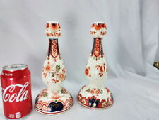 PAIR OF PORCELEYNE DE FLES DELFT TALL POLYCHROME CANDLESTICKS HANDPAINTED RARE