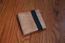 Men's Brown Leather Bi Fold Wallet with Black Elastic Strap