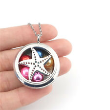 K1180 Silver Color Pearl Cage Starfish Floating Diffuser Charm Necklace 20""