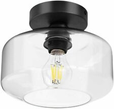 TeHenoo Industrial Ceiling Light Opaque Yellow Glass Shade Semi-Flush Mount