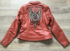 HARLEY DAVIDSON EMBROIDERED LEATHER JACKET womens M MINT COND 2008