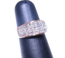 Mens 14k Rose Gold Princess Cut Invisible Setting 2.30ct White Diamond Ring