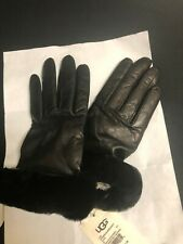 UGG Classic Leather and Dyed Shearling Gloves Black Size M/ G $110