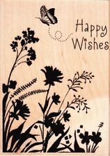 CARD ART HAPPY WISHES - HERO ARTS - Wood Mounted Rubber Stamp
