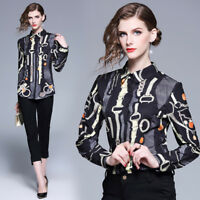2019 Spring Fall Runway Vintage Print Women Casual Long Sleeve Shirt Top Blouse