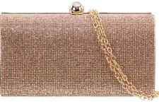 Ladies Champagne Crystal Gem Clutch Sparkling Purse Girls Shoulder bag p20392