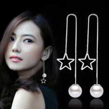 925 Sterling Silver Star Pearl Pendant Ear Line Earrings For Women Charm Jewelry
