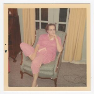 Square Vintage 60s PHOTO Senior Woman in Pink Sitting on Chair
