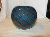 """Hand Blown Glass Round Bowl Blue and Brown Swirl Pattern 6"""" Tall"""
