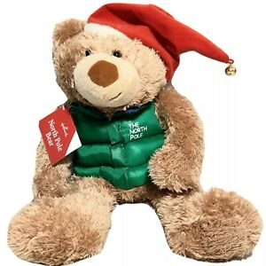 New Hallmark The North Pole Bear Plush Green Vest Jacket Jingle Teddy Santa Hat