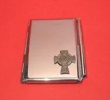 Celtic Cross Chrome Notebook / Card Holder & Pen Celtic Themed Christmas Gift