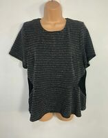BNWT WOMENS OASIS BLACK MARL SHORT SLEEVED CREW NECK CASUAL TOP SIZE XL LARGE