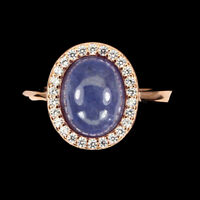 Unheated Oval Blue Tanzanite 9x7mm Cubic Zirconia 925 Sterling Silver Ring