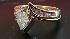 Gold Pear DIAMOND with baguettes Engagement Ring 1.06 total Carats Size 4.5