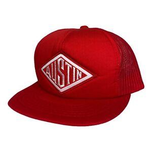 Vintage 90s Austin Powder Explosives Company Red Foam Mesh Snapback Trucker Hat