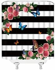 Nice Bold Black Striped Rose Butterfly Floral Farmhouse Fabric Shower Curtain