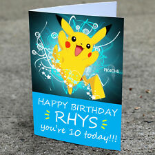 Pikachu Birthday Card - Professionally printed and personalised to your needs
