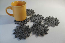 Grey and Mix Colour Coaster Flames Aster Flower  Set of 6 Pieces Laser Cut
