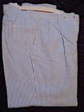 Cordovan And Gray Blue and White Striped Cotton Seersucker Summer Slacks 35x29