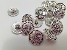 "10 Silver Flower Metal Shank Sewing Buttons 12mm (1/2"") Jacket Silver Buttons"