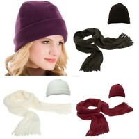 New Thinsulate Fleece Scarf Fitted Hat single set Brown Cream Red Purple *LICK*