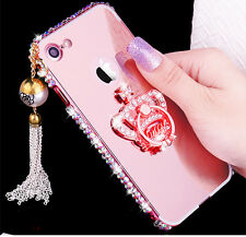 New 9H glass film + metal bamper case cover w 3D bling crown for apple iphone