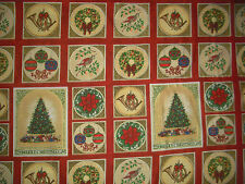 1 YDS Michel Miller Merry Christmas Blocks QUILT FABRIC - Red Colorway