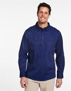 Solbari Sun Protection Men's UPF50+ Outback Half Placket Shirt UV Technicool