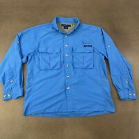 ExOfficio Men's Size Small Blue Long Sleeve Vented 2 Pocket Button Front Shirt
