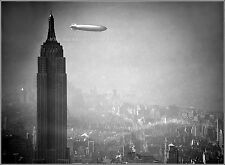 "Poster Print: 24""x32"": Airship Hindenburg Flies Past Empire State Building, 1936"