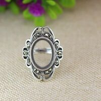 Art Nouveau 10x14mm Oval Cabochon Semi Mount Ring 925 Sterling Silver Setting