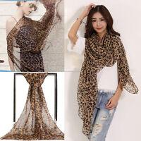 Stylish Leopard Print Long Soft Scarf  Women Chiffon Wrap Shawl Scarves Stole
