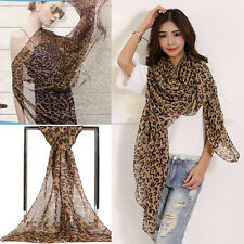 Stylish Leopard Print Long Soft Scarf  Women Chiffon Wrap Shawl Scarves Stole