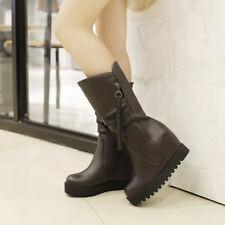 Super Large Size 34-52 Womens Tassels Platform Hidden Wedge Heels Mid Calf Boots