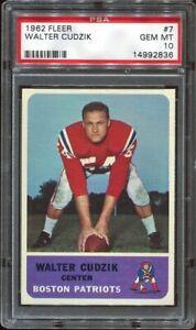 1962 Fleer #7 Walt Cudzik PSA 10 Boston Patriots Purdue