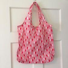 NWT Cath Kidston London Foldaway Shopping Bag Mono Hearts Dusty Pink