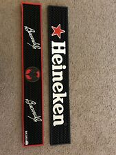 "HEINEKEN & BACARDI BEER BAR MAT, SPILL RAIL MAT, BLACK RUBBER, 23"" X 3"""