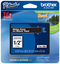 "Brother 1/2"" (12mm) White on Black P-touch Tape for PT1010, PT-1010 Label Maker"