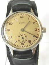 "ART DECO WWII ERA RARE LARGE MILITARY SWISS MEN'S MECHANICAL WATCH""CYMA"" # 637"