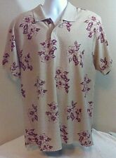 Vintage Chaps Ralph Lauren Hawaiian Floral Polo Shirt Light Brown Red Large FS!