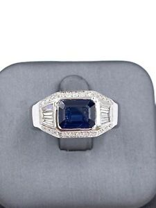 Custom 14k white gold Sapphire and Diamond Men's Ring 3.58ct Natural Ceylon