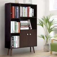 HOMCOM Cabinet Shelves Bookcase Storage Unit Free Standing w/ Two Doors Walnut