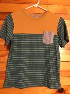 Hanna Andersson Striped Shirt EUC Boys Blue Green w/Mustard Contrast Top 150 12