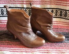 Steve Madden Betsey Brown Leather Ankle Slouch Boots Retro Womens Sz 6