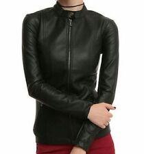 Joan Jett Black Hi Collar Pleather Jacket Daang Goodman/Tripp NYC Size L NWT
